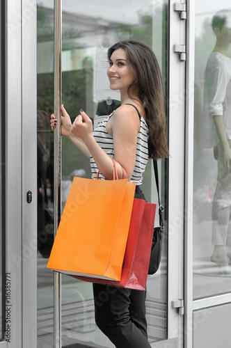Girl Walks Into Door : Quot smiling girl walks into a glass door shop stok