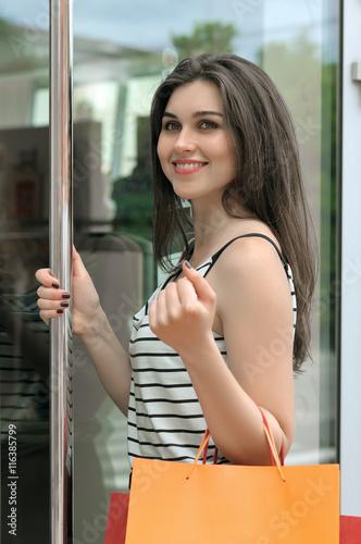 Girl Walks Into Door : Quot smiling girl walks into a glass door shop stock photo
