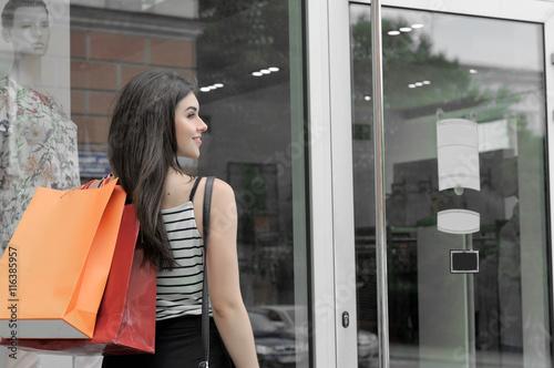 Girl Walks Into Door : Quot rear view of a girl walks into the shop door stock photo