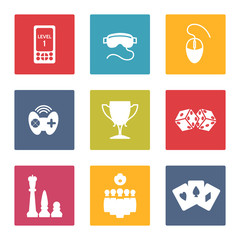 Colorful game icons set vector. Joystick cards chess coblet etc