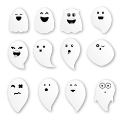 Cute ghosts on white background