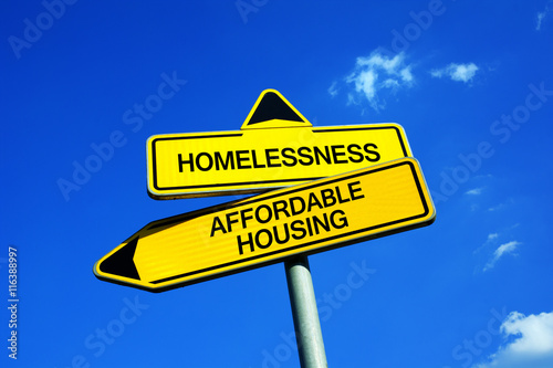 homelessness vs affordable housing traffic sign with. Black Bedroom Furniture Sets. Home Design Ideas