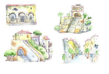 old houses, churches, watercolor