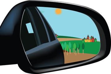 specchio retrovisore con immagine paesaggio