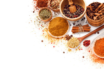 Zelfklevend Fotobehang Kruiden Spices isolated on white