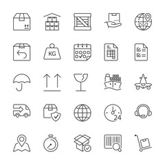 thin line iconset transport and logistics