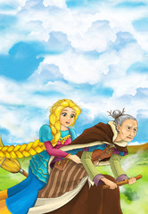 Cartoon scene of a with flying on a broomstick with young girl - beautiful manga girl - illustration for children