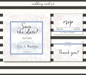 Vector wedding card set in tender style. Includes save the date, rsvp and thank you cards templates.