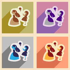 Set of flat web icons with long shadow bride throws bouquet