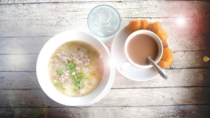 Breakfast Boiled rice pork with cocoa milk and Grilled Chinese D