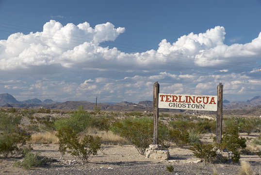 Road sign of Terlingua Ghost Town, Big Bend National Park, Texas, U.S.A.