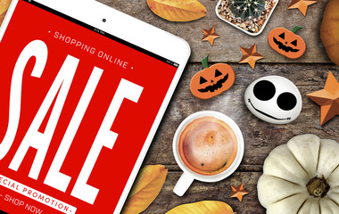 shopping online happy halloween sale promotion offer concept