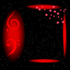 Music Poster Template with treble and bass clef, frame and flashes