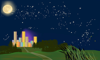 rainbow color city under full moon and stars