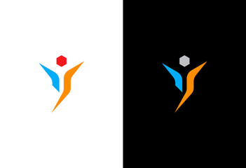 success victory man vector logo