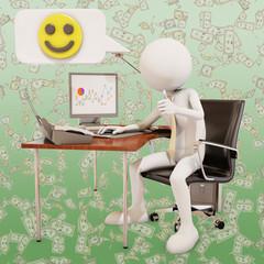 happy office worker, 3d rendering