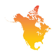 North America map. Colorful orange vector illustration
