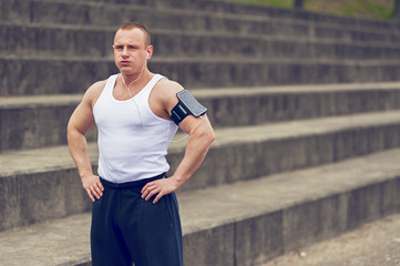 Man resting after jogging.