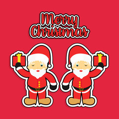 Twins of Santa Claus distributing gifts to good children and Merry Christmas banner on red background