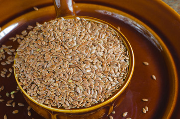 portion of flaxseeds in bowl