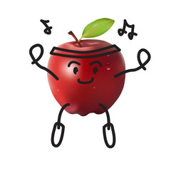 Cute apple, Funny dancing, Healthy lifestyle and sport image
