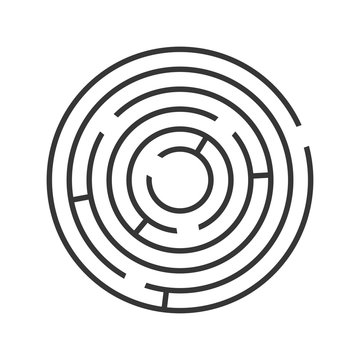 Circle Ring Maze on White Background. Vector