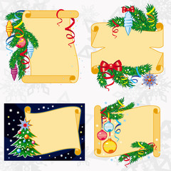 Set of paper scrolls with Christmas decorations. Vector clip art.