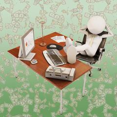 lazy office worker, 3d rendering