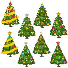 Big set green Christmas trees on white background