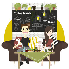 Vector elements of coffee shop infographic. Barista with cup of coffee, Flat style vector/Illustration