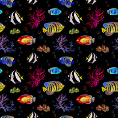Exotic fishes, sea corals. Neon lighting seamless background. Watercolor