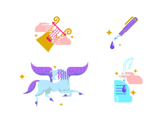 Icons with the winged horse Pegasus, a fountain pen,  hand