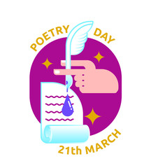 icon to poetry day with pan, ink, hand, paper and text
