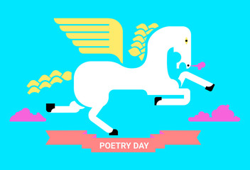 stylized poster to poetry day with horse  wings in blue sky