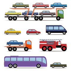 Set of colorful transport. Different kinds of automobile.