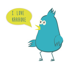 Dancing bird with speech bubble. Love karaoke. Vector illustration.