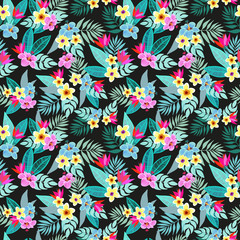 Beautiful seamless vector floral jungle pattern background. Colorful tropical flowers, palm leaves and plants, hibiscus, paradise flower, exotic print