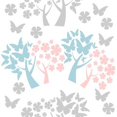 tree, butterflies leaves seamless background