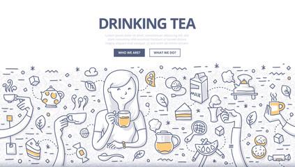 Drinking Tea Doodle Concept