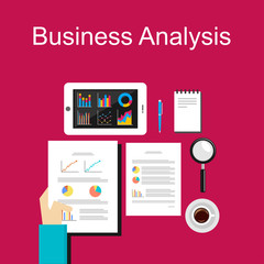 Business analysis illustration. Flat design illustration concepts for business, planning, management, career, business strategy, business statistics, brainstorming, monitoring, working, consulting.