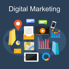 Digital marketing illustration. Flat design illustration concepts for internet, digital media, internet marketing.