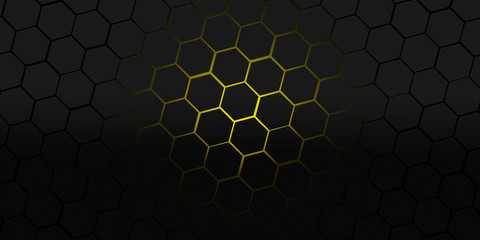 Black And Yellow Hexagons Modern Background Ilration