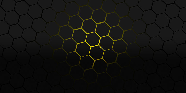 black and yellow hexagons modern background illustration