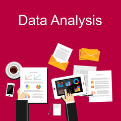 Data analysis illustration. Flat design illustration concepts for business, planning, management, career, business strategy, business statistics, brainstorming, monitoring, working.