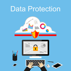Data protection illustration. Flat design illustration concepts for data security, internet security.