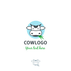 Funny cartoon vector cow with grass logo template.