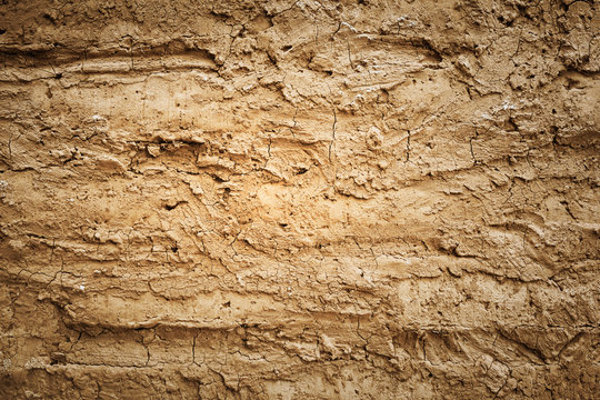 Texture of soil wall of home soil