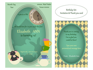 Alice in Wonderland. Mad tea party Birthday Invitation. Retro illustration.