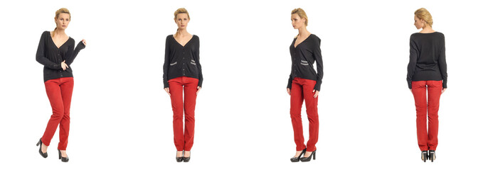 Portrait of young slim woman in red pants posing isolated on whi