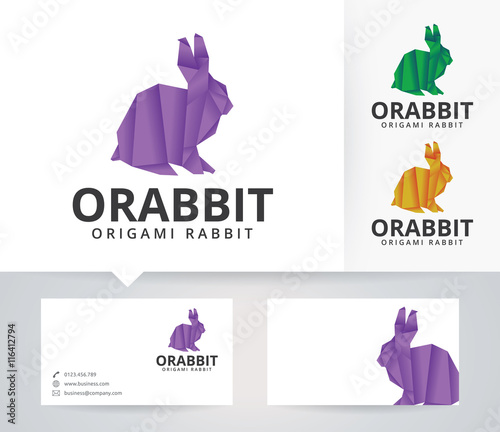 Origami Rabbit Vector Logo With Alternative Colors And Business Card